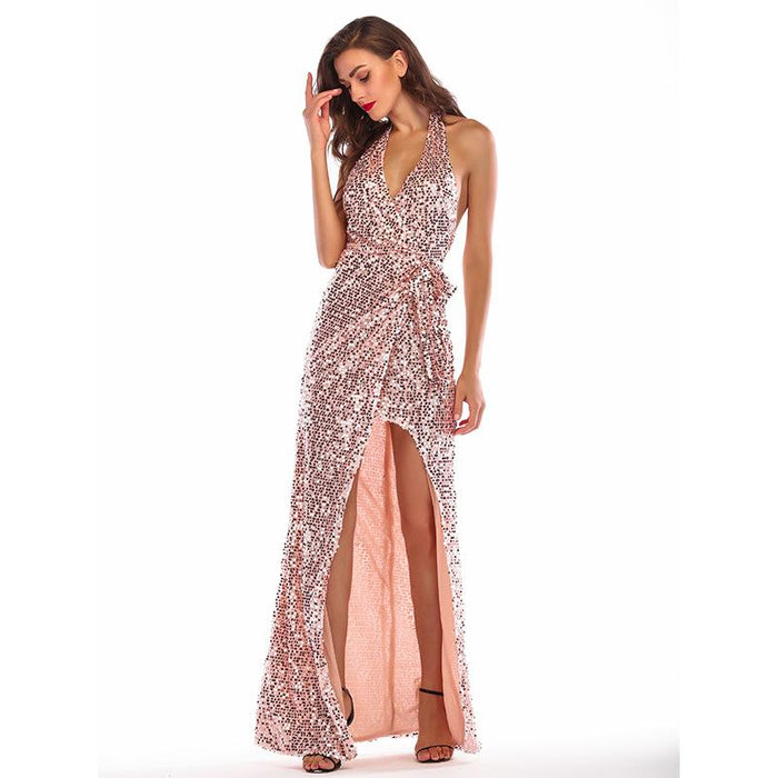 Rose gold dress sexy backless stretch Glitter dress