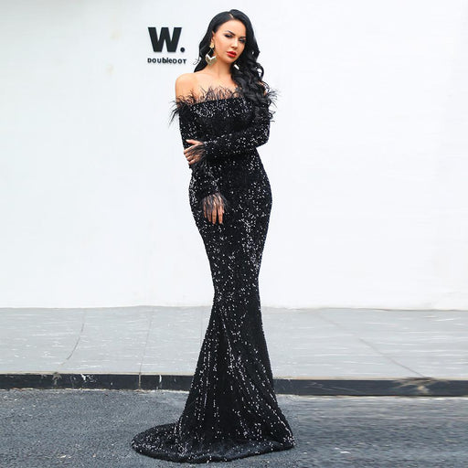 Sexy Word shoulder feather Long sleeve Glitter Party Black dress