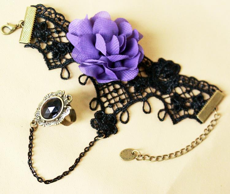 Fairy Girly Lacy Purple peony flower hand ornament  female Christmas exo bracelet with ring
