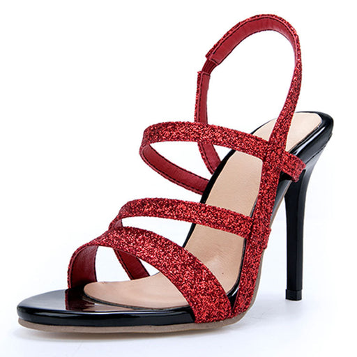 Glitter Red & Silve  high heel Sandals