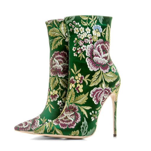 Satin-embroidered pointed high-heel ankle boots