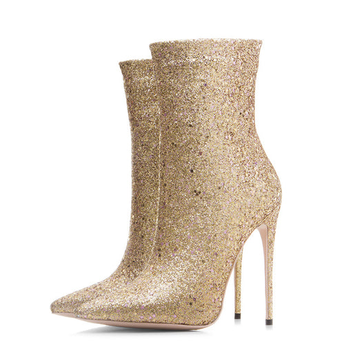 Night Club Dazzling Pointed High Heels Ankle Boots