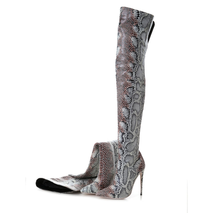 Night Club Snakeskin Thigh High Boots