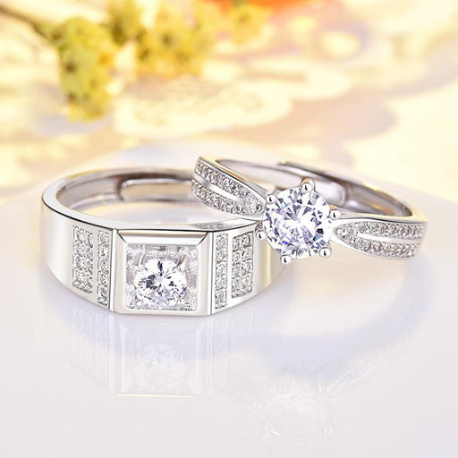 925 sterling silver couple's rings set with diamond and sparkly ring