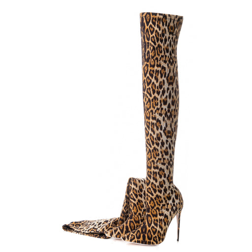 Leopard print high knee leather  Thigh High Boots