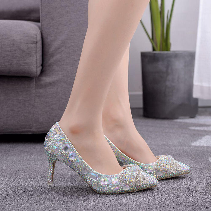 Bridal Heels -Crystal Color diamond  bowknot