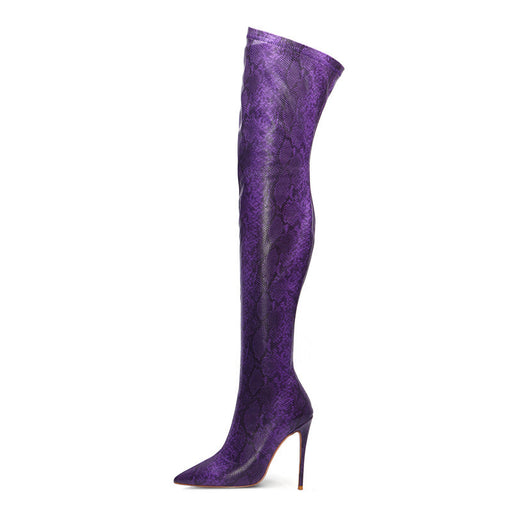 Purple Snakeskin Thigh High Boots