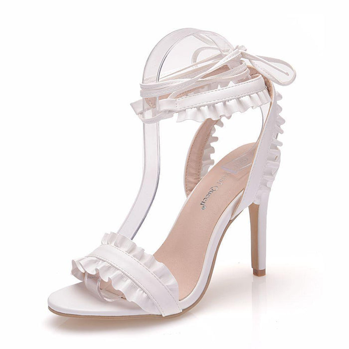 Bridal Sandals - White Bandage Lotus leaf
