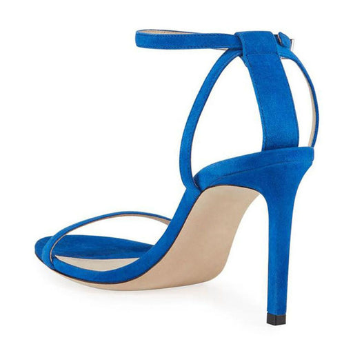 Blue  Shallow mouth Open toe stiletto Buckle  Party High Sandals