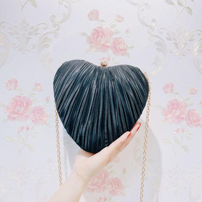 Heart-shaped pleated foreign bag wild dress evening bag
