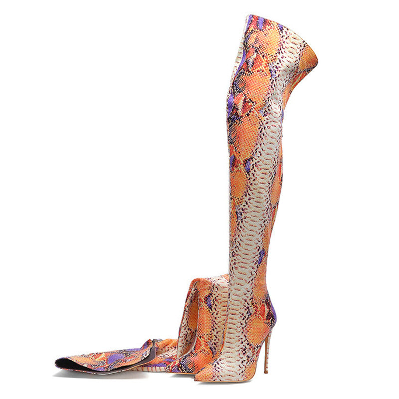 Snakeskin Over-the-Knee Thigh High Boots