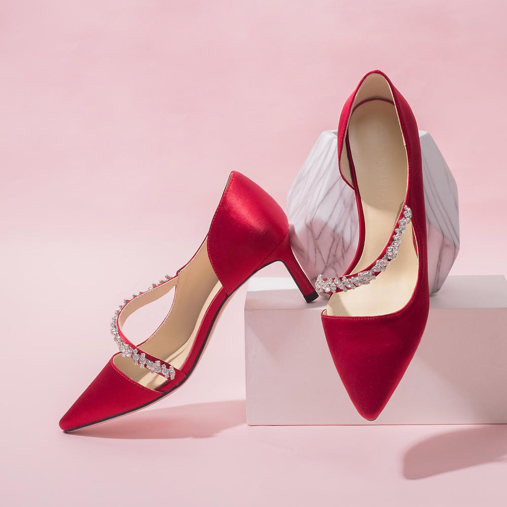 Wedding  Heels - Red Silk and satin bride's toast