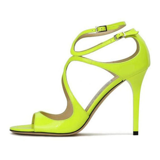 Women's cutout Double row buckle Fluorescent green banquet sandals