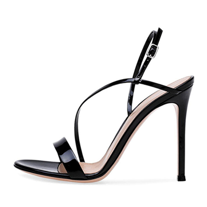 Black Open toe stiletto Shallow mouth One word Buckle Party  Pump    Sandals