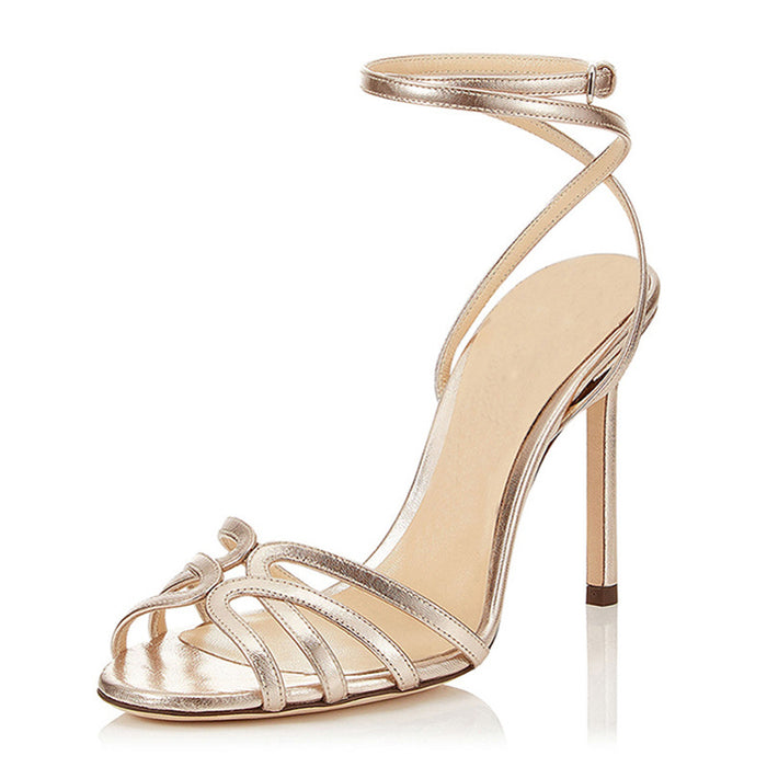 Open toe Crisscross Golden One word Party  High Sandals