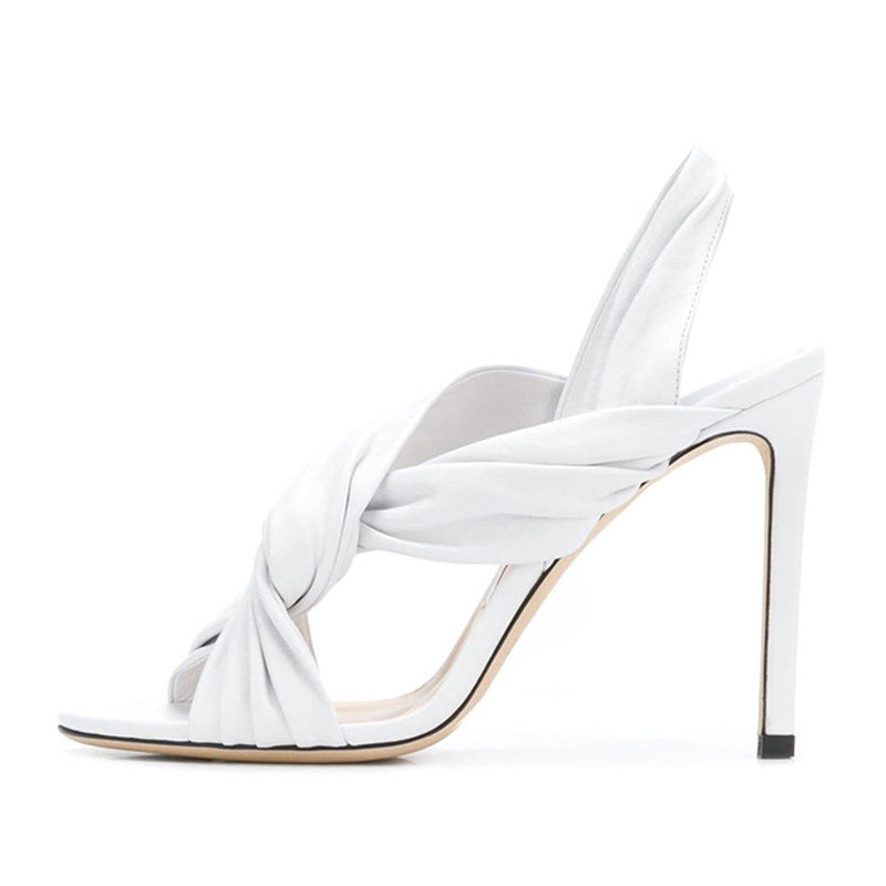 Open toe Back strap White One word Temperament Banquet Pump Sandals