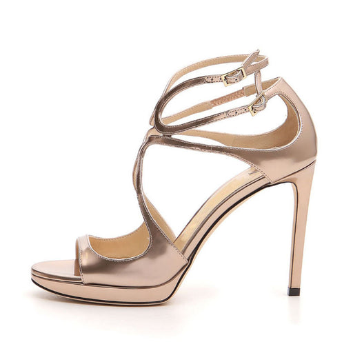 Glitter Waterproof platform stiletto Open toe Silver High sandals