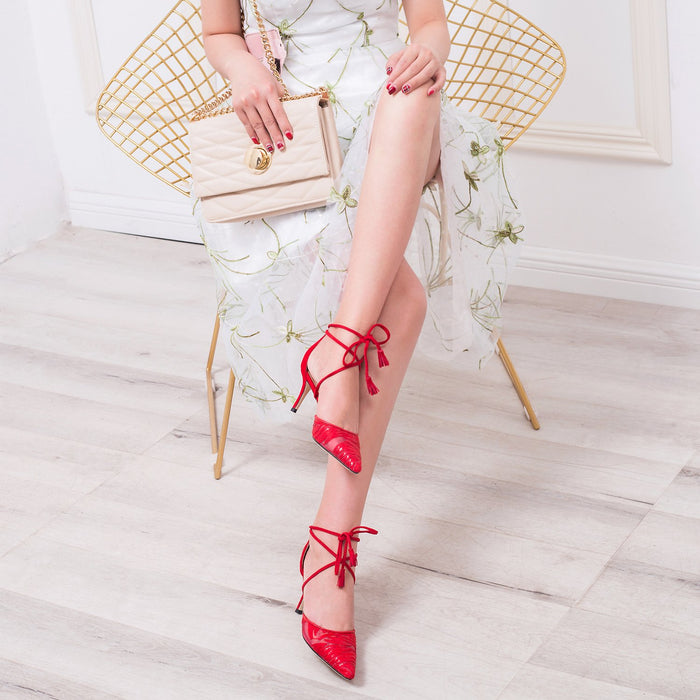 Wedding  Heels -  Red Gauze Bandage