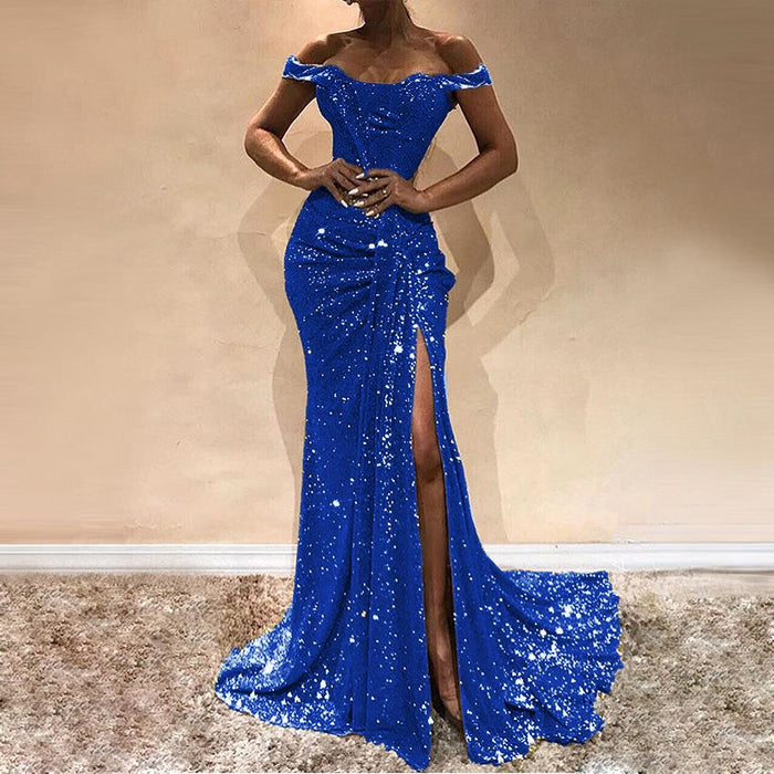 Sexy single shoulder pull plait splice the sequin of large pendulum dress open fork party evening dress