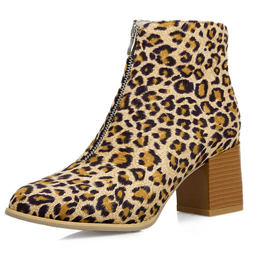 Bridesmaid Shiny Leopard Ankle Boots Front Zipper Chunky Heels