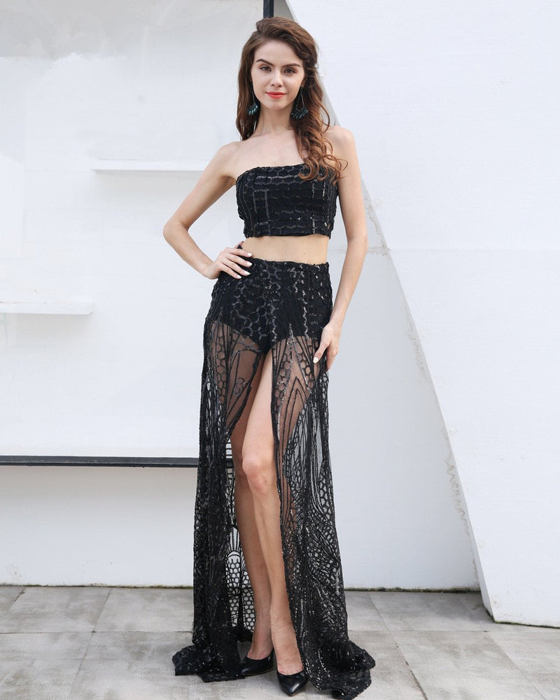 Night Club Sequin Cutout high split long  Black  dress