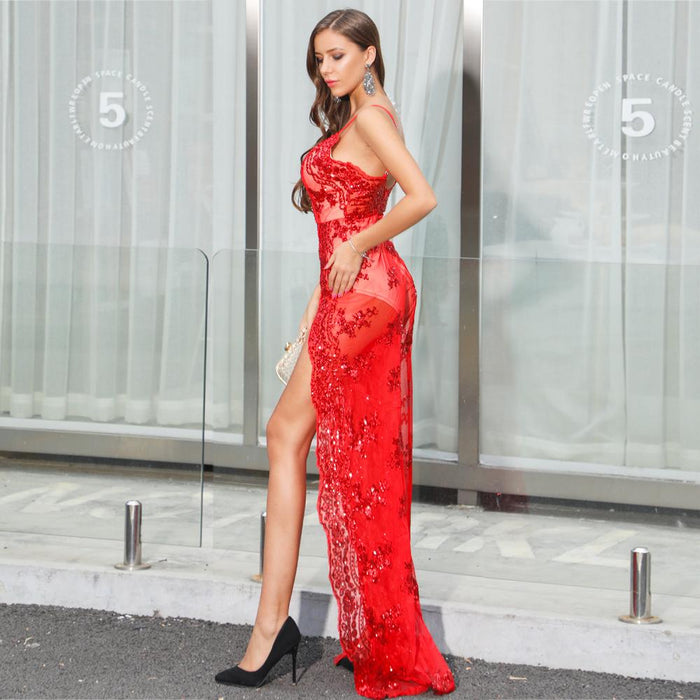 Red  Deep V-neck strapless Sparkly  lace backless Night Club Daess