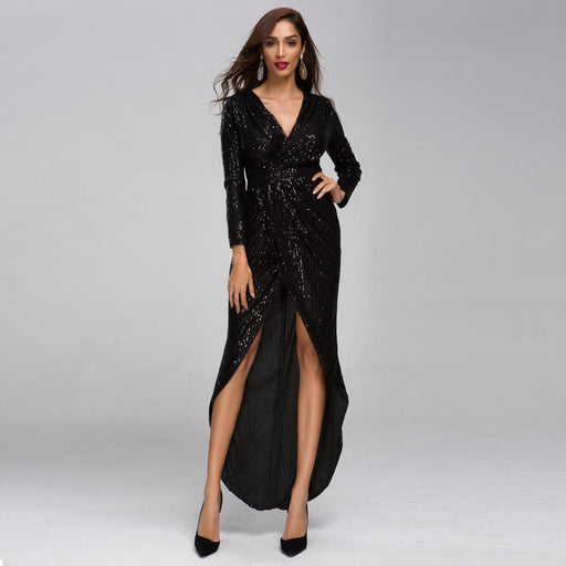 Sexy V-neck long sleeve sequin dress high split  party nightclub evening Black dress