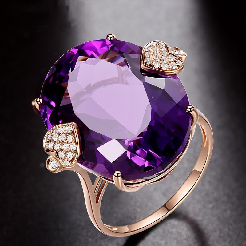 Rose gold amethyst oval birthday ring