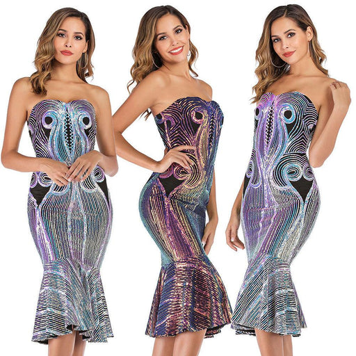 Sexy slim bodice strapless sequined fishtail dress