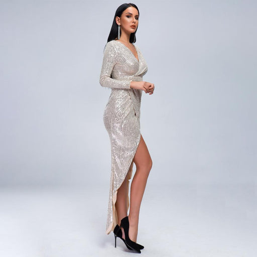 Sexy V-neck long sleeve sequin dress high split  party nightclub evening White dress