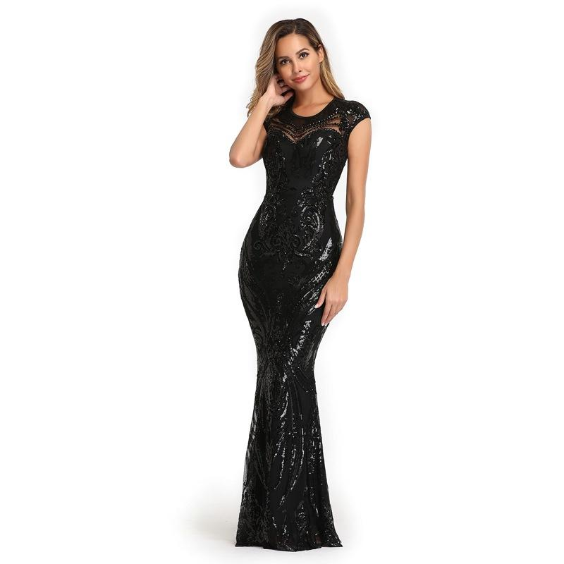 Sequin evening dress stretch slim fit banquet / party dress