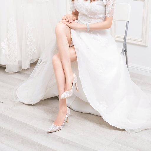 Wedding Heels  - White Lace Gauze Hollowing out
