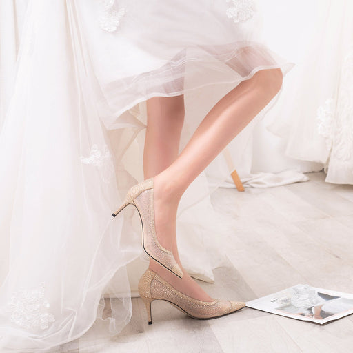 Wedding Heels  - Champagne  Gauze Lace