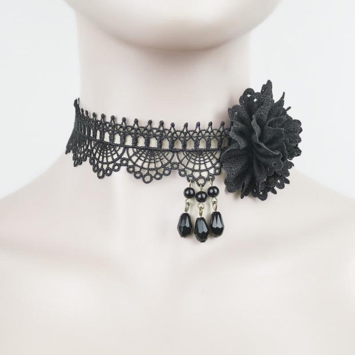 Fairy Lolita Lace Rose Black Necklace