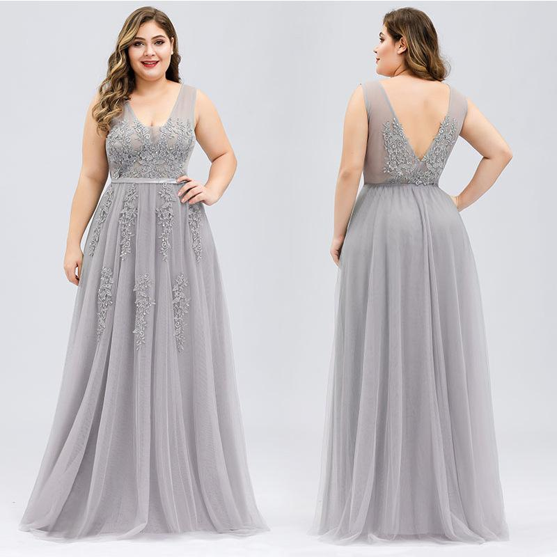 Applique beaded plus size sleeveless banquet evening dress