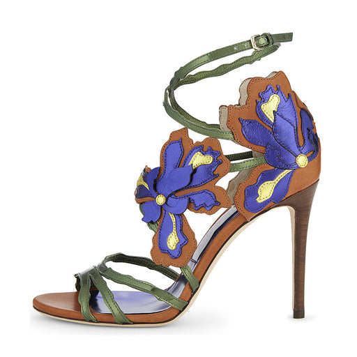 Summer Blue Flower Stiletto Partyl Sandals