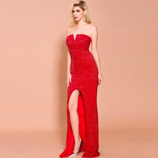 Bridesmaid tube top strapless Sequins long party   Red dress