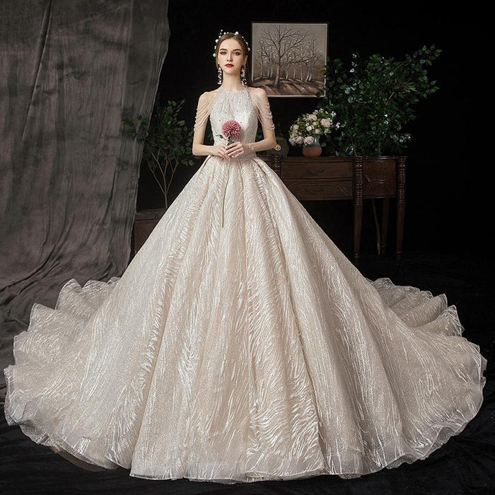 Dream Star Princess Pearl Tassel Trailing Wedding Dress