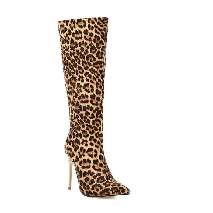 Party Shiny Leopard Thigh High Boots