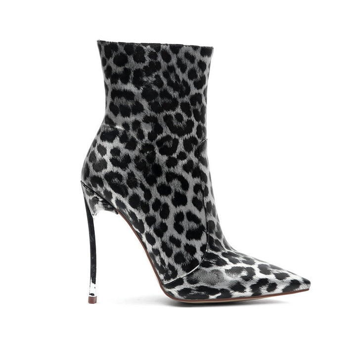 Night Club   Leopard  Ankle  Boots Heels