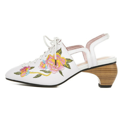 Party white high-heeled embroidered sandals