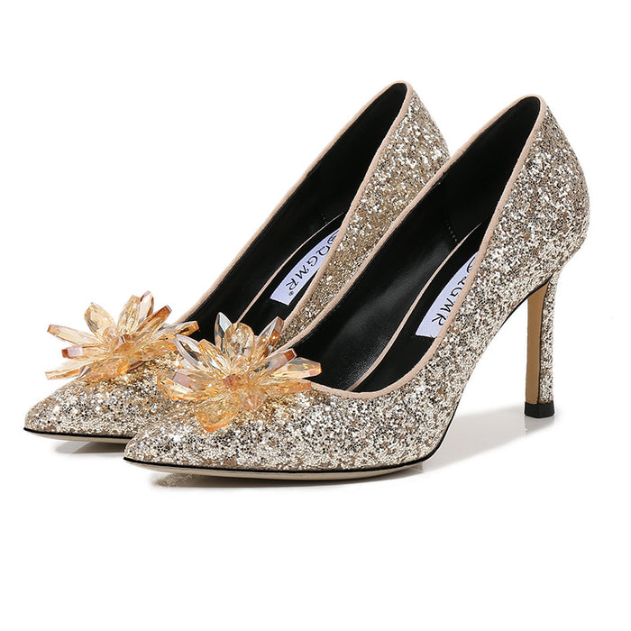Glitter crystal Party Rhinestones Wedding shoes Silver High heels