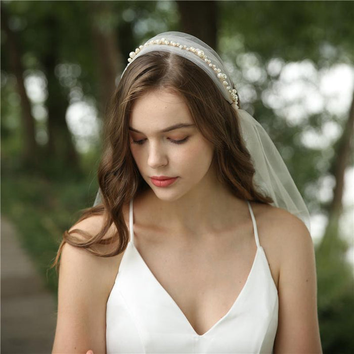 New European and American style bride ins net red wedding headdress long mesh hard yarn pearl jewelry handmade veil