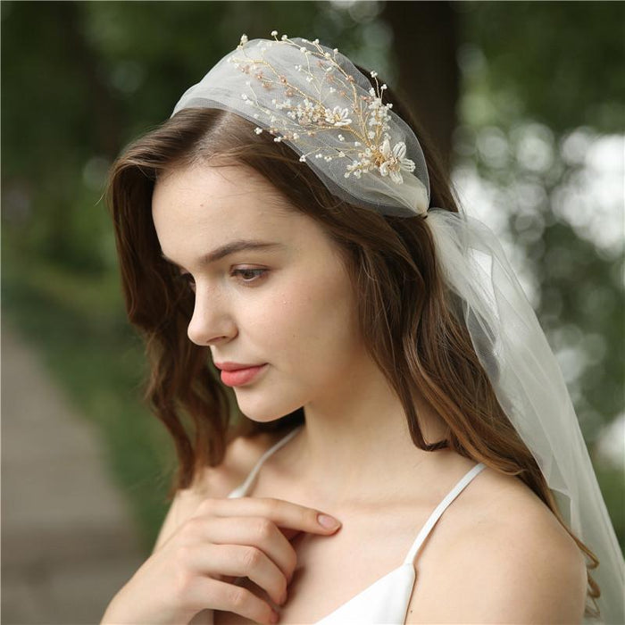 lace bride veil long European and American wedding accessories wedding lace veil champagne handmade headband