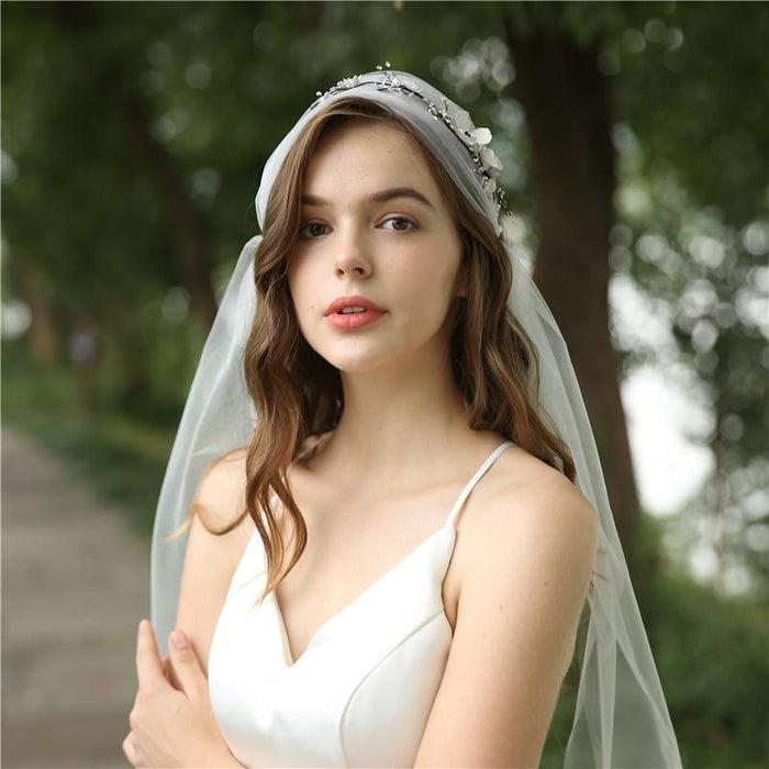 net red vibrato with the same black women's long exquisite veil European and American wedding crystal headdress wedding veil