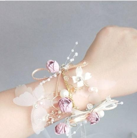 Wrist Corsage, Corsage Bracelet, Bracelet Corsage, Wrist Corsage Bracelet, Flower Wrist Corsage, Bridesmaid Flowers, Gold Wrist Corsage