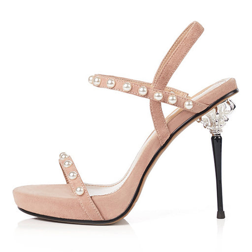 Summer Nude  Waterproof platform  Rhinestones Fine heel pearl  Party Sandals