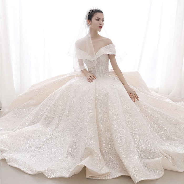 One shoulder starry sky sparkling wedding dress