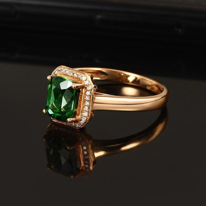 18K rose gold plated square emerald women's ring