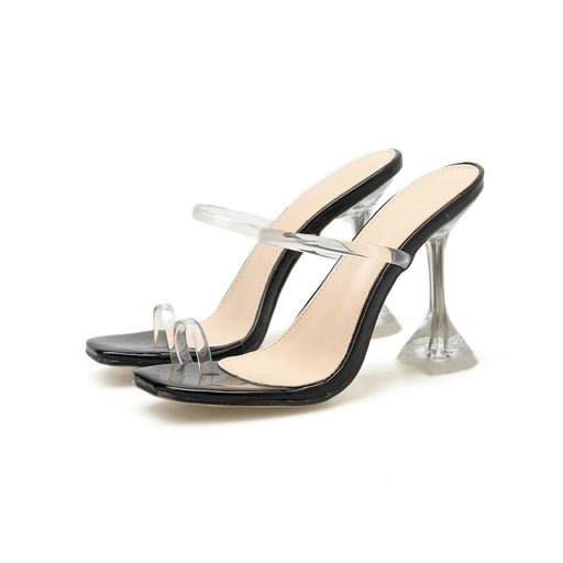 Bride transparent PVC sexy high heel slippers